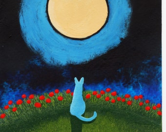 Russian Blue Cat original art Painting by Todd Young 5x7 or BEST OFFER
