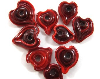 Lampwork beads set . Lampwork beads.Lampwork  Heart  Beads. red (9) SRA