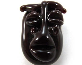 Lampwork bead, Handmade lampwork bead  glass, Lampwork beads, focal, mask brown (1) SRA