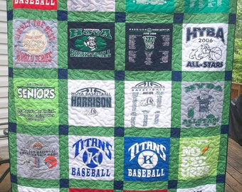 T Shirt Quilt Memory Quilt Custom Order Quilt Large Lap/Throw Size - Using Your 16 Shirts