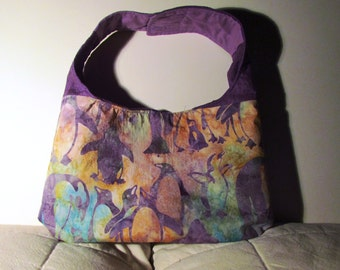 Purple Batik Penguin Purse