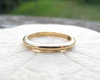Antique Wedding Band, Elegant 18K Gold Ring, Hand Engraved 1913, Edwardian Era Wedding Ring or Stacking Ring