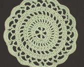 "New Handmade Crocheted ""Elegance"" Coaster/Doily in Frosty Green"