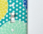 Light Switch Plate Cover - blue, green, mustard yellow floral with polka dots - flowers, retro, mod, midcentury, modern