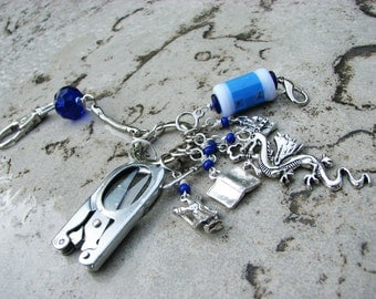World of Warcraft Chatelaine with Non-Snag Stitch Markers, Row Counter & Folding Scissors on a Decorative Clasp