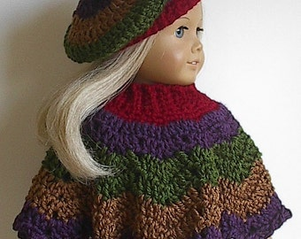 18 Inch Doll Crocheted Poncho Set in Autumn Harvest Colors made to fit the American Girl Doll - Made to Order