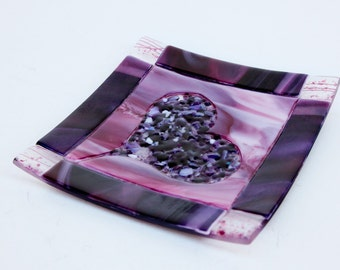Pink & purple fused glass frit heart plate  7x7