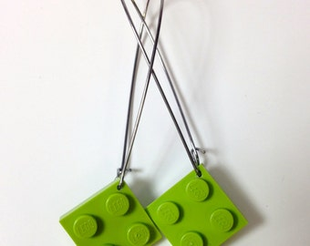 Elegant Drop Earrings with Lime LEGO® plates