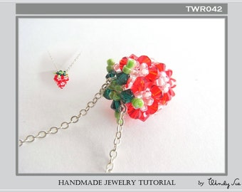 Beaded Strawberry Pendant Tutorial TWR042