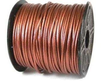 Genuine India Leather Cord 1mm Metallic Copper (You Pick Length) 42973