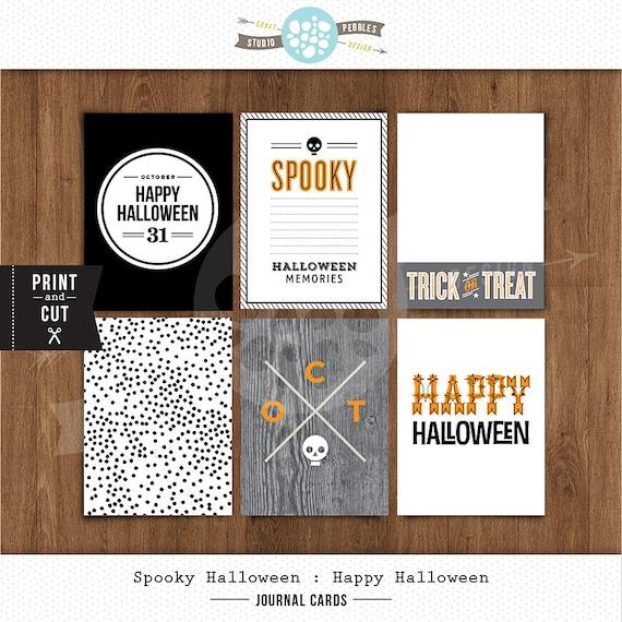 "3""x 4"" Printable Happy Halloween Journal Cards by Studio Pebbles"