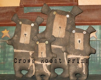 Bear Doll 169e PrimitiveCrows Roost Prims ePattern  SALE immediate download