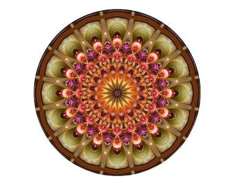 Mandala Art Print in Green, Orange, Pink and Yellow - Colorful Fractal Kaleidoscope Print