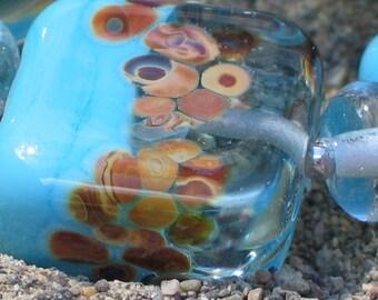 Handmade Glass Lampwork Beads, Turquoise/Light Blue/Raku Banded tile, square
