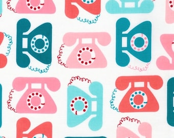 "Ann Kelle's ""This and That"", Retro antique Telephones in Sweet, 1/2 yard"