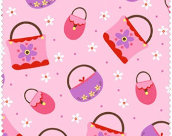 NEW Henry Glass, Girly Girl, Purses and bags on pink, HALF yard