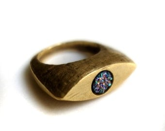 Drusy Deluxe: Brass Cleopatra Ring with Rainbow Drusy