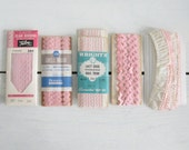 vintage pink bias trim seam binding tape - lacy edge scallop rick rack lace - instant collection lot