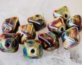 10 Raku Crystals or 1 Pair ,  Organic Handmade Glass Beads, Earthy Green Brown lampwork beads by Beadfairy Lampwork, SRA