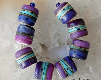 1 Pair or 4 Pairs Pink Purple Organic Mix Barrels Lampwork Beads , glass beads by Beadfairy Lampwork, SRA
