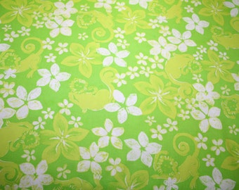 """Lilly Pulitzer """" Green RESTLESS NATIVE """" fabric ,  18 inch by 18 inch"""