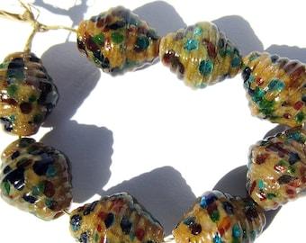 Handmade Lampwork Glass Jewel Tone Mosaic Ribbed Glass Bicone Beads SRA