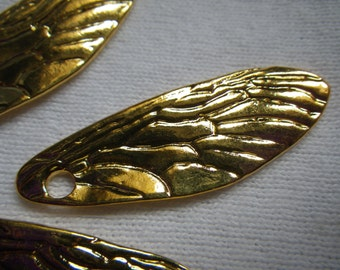 Cicada Wing 39mm Charms Bright Gold Plated Alloy 6 Pcs