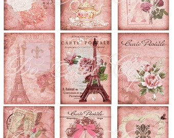 Buy 1 Get 1 FREE Rose Paris - Carte Postale ACEO - French Shabby - Digital Collage - Antique Images - INSTANT Download