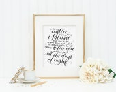 "8"" x 10"" Calligraphy Print of Wedding Vows : Black"