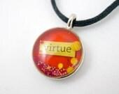 Orange Virtue Necklace Inspirational Magic Glos Mixed Media Pendant Orange Yellow