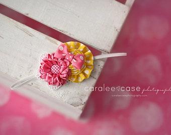 Pink Lemonade Ruffles and Rosettes and Dainty Dahlia Headband