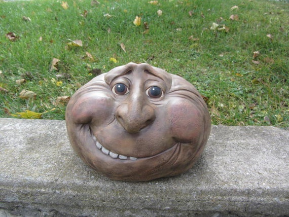 Mr Boulder Rock Face Yard Art Garden Decoration Happy Guy