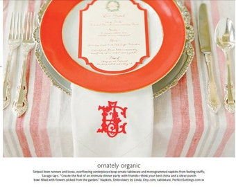 Personalized Wedding Napkins as seen in the Knot magazine. Linen Napkins, Wedding Napkins,cloth napkins,dinner napkins