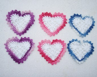 6  cotton thread crochet valentine hearts --  1845