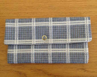 Blue White Tan Plaid Check Wallet Checkbook Cover Eyeglass Case Upcycled Fabric Coupon Holder