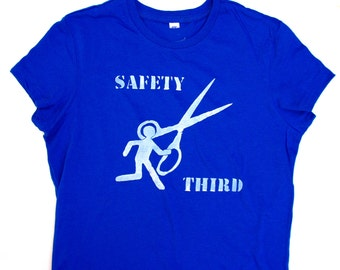 Runs With Scissors Safety Third tshirt - Womens tshirt safety 3rd standard length womens clothing running with scissors  dangerous behavior