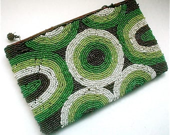 Beaded Op Art Purse Zippered Closure Vintage 80s Pocket Pouch Makeup Bag Small Clutch