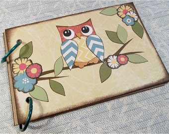 Decoupaged  Notebook, Note Book- 4x6 (Small) - Sturdy Chipboard  Notebook, Binder, Album, Owls and Other Fun Designs, MADE TO ORDER