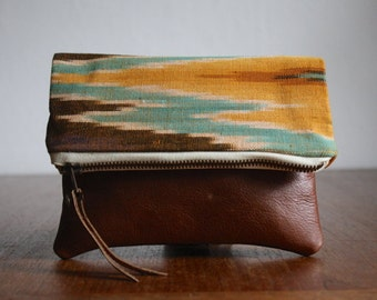 Ikat Clutch. Friend Gift. Stash Pouch. Ready to Ship. Bridesmaid Gift.