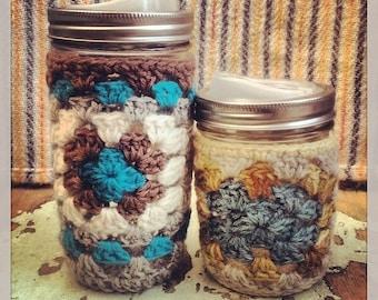 "crochet cozy for 24 oz ""Tall Boy"" mason jar -- made to order"