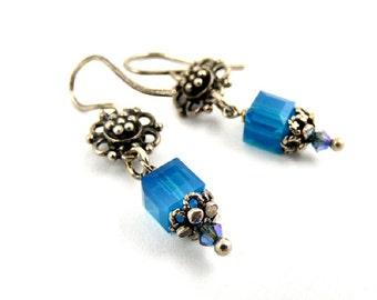 Blue Earrings, Crystal Earrings, Cube Earrings, Dangle Earrings, Silver Earrings, Dainty Earrings, Floral Earrings