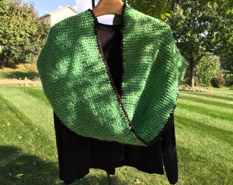 Chunky Infinity Cowl Handknitted Lime Green and Black