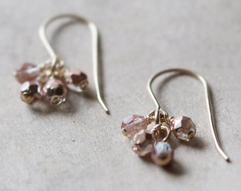 lucky in pink - faceted gold and pink earrings by elephantine