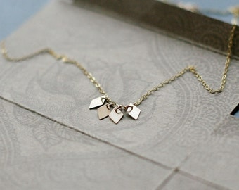 "modern geometric 14k goldfill necklace - dainty everyday gift for her - ""akira"" handmade necklace"
