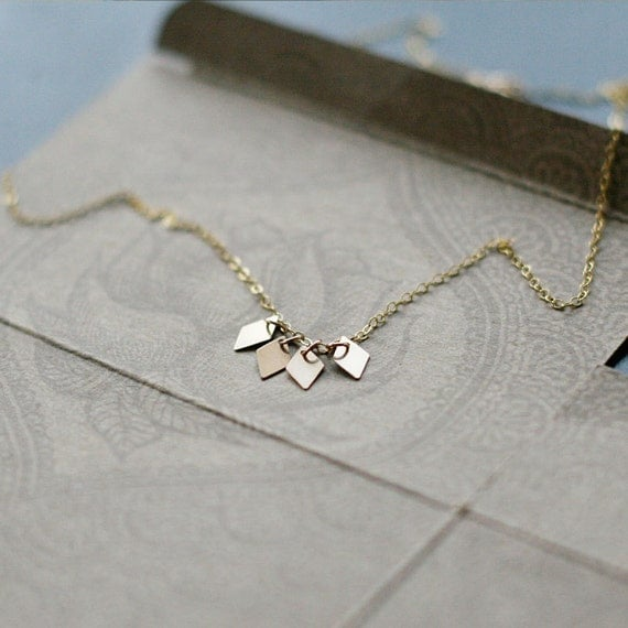 """modern geometric 14k goldfill necklace - dainty everyday gift for her - """"akira"""" handmade necklace"""