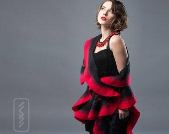 Red Felted Scarf Wavy ruffled Shawl  Handmade wool and silk