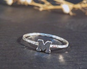 Stackable initial ring sterling silver, Personalized ring, Custom initial ring, Skinny ring
