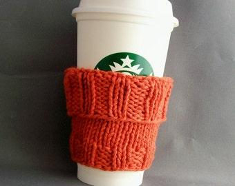 Orange Coffee Cup Sleeve with Bonus Handmade by me Muslin Drawstring Bag Cotton Knit Eco Vegan Friendly Gift under 20