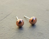 Warm Hammered Copper Studs, Copper Post Earrings, Recycled Copper Earrings