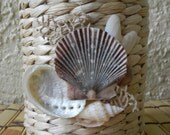Candle Holder, Rattan Votive Candle with Seashells, OOAK, Shell Embellished Candleholder, Beach Decor, Coastal Decor, Tealight Candleholder
